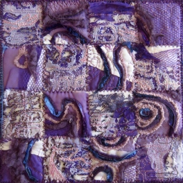 Purple white organic, mixed media
